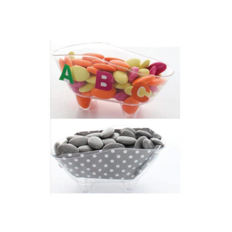 Boîte à dragées baignoire transparente x3