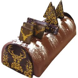 """Kit de décoration chocolat pour bûche de Noel """"Cerf doré"""""""