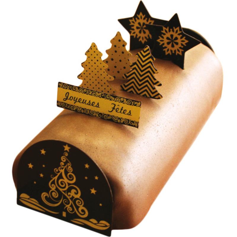 kit dco chocolat pour bche sapin dor - Decoration Pour Buche De Noel