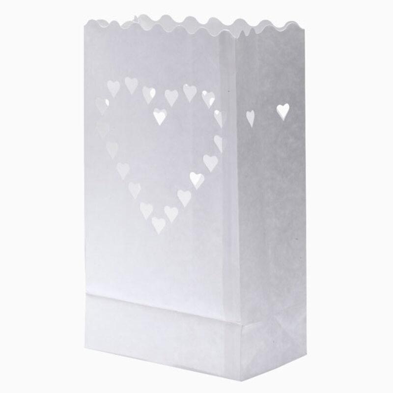 Grande lanterne blanche découpe coeurs (x10)