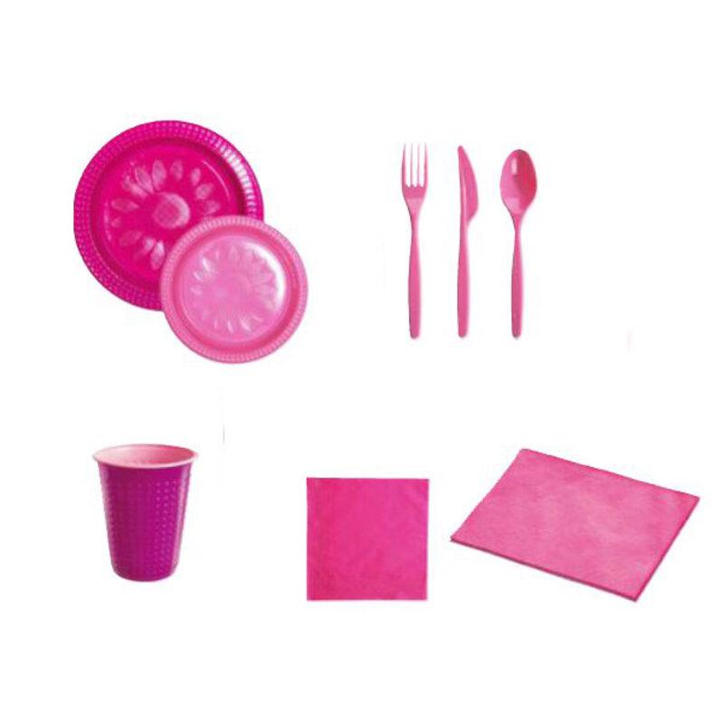 Coffret vaisselle jetable fuchsia / rose