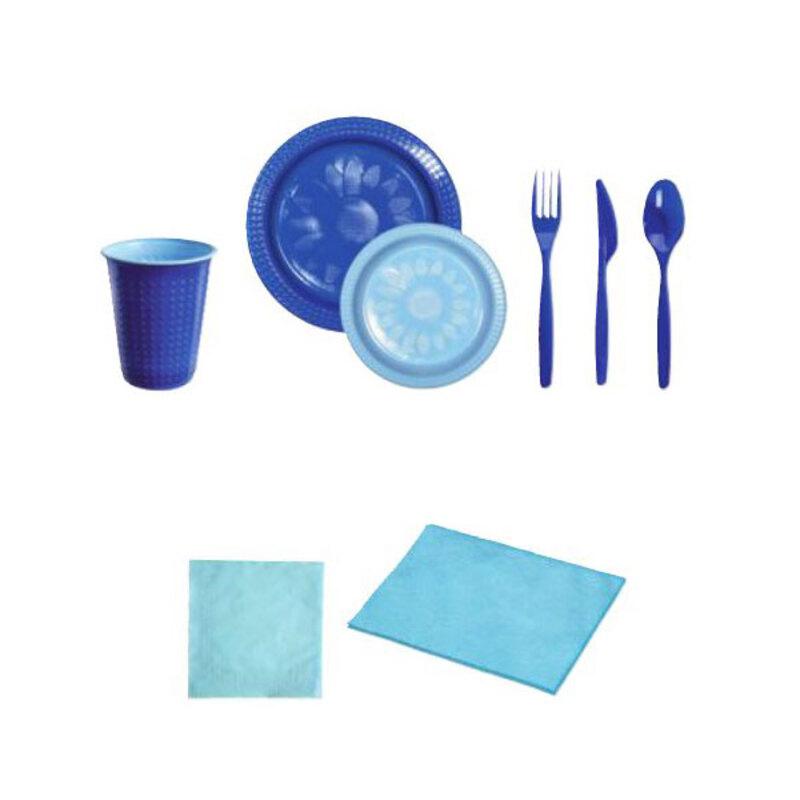 Coffret vaisselle jetable bleu / bleu ciel