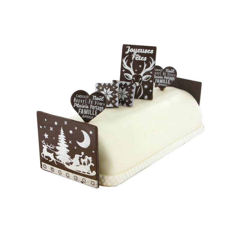 D coration buche de noel en chocolat faire cerf traineau for Decoration buche
