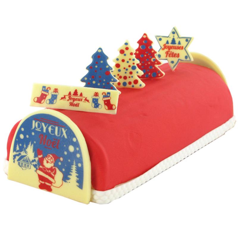 """Kit décors de bûche en chocolat """"Noël rétro"""""""