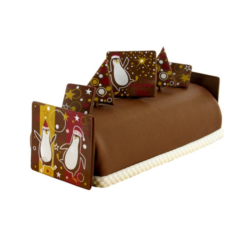 D coration buche de noel en chocolat faire pingouins cerf dellier - Decoration buche de noel comestible ...