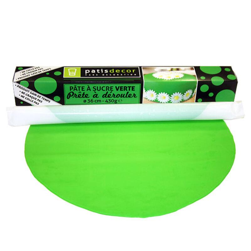 Pâte à sucre en rouleau verte