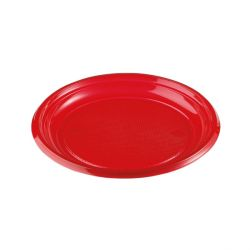 Assiettes plastique rouges (x50)