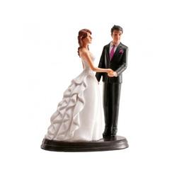 Couple de mariés main dans la main 20 cm