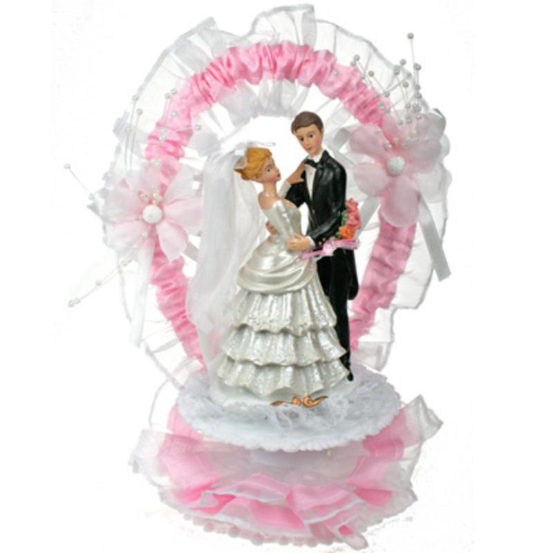 Couple de mariés rose 25 cm