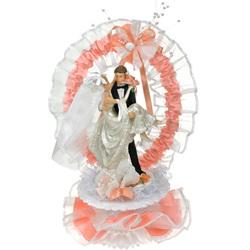 Couple de mariés saumon 25 cm