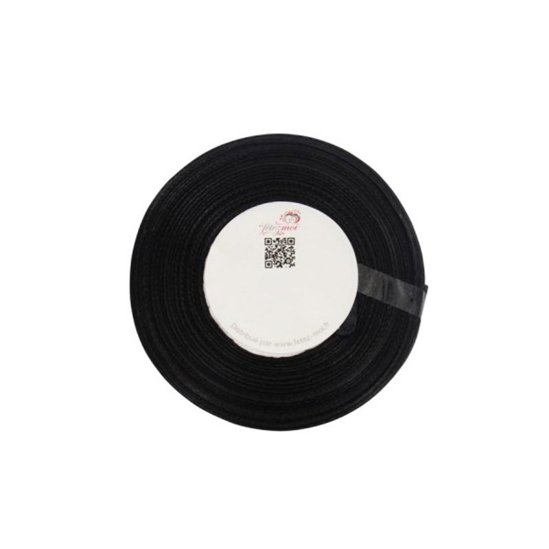 Ruban satin noir 6 mm (25 m)