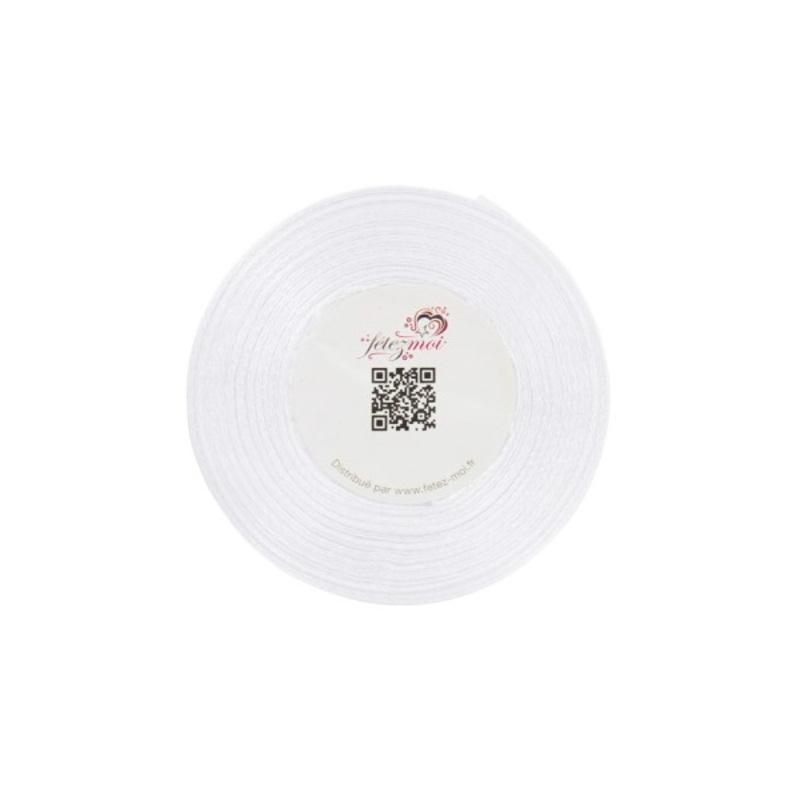 Ruban satin blanc 6 mm (25 m)