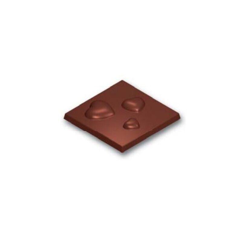 Moule chocolat Carrés 3 coeurs