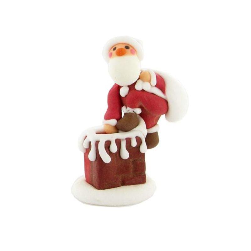 Décor sucre Père Noël cheminée