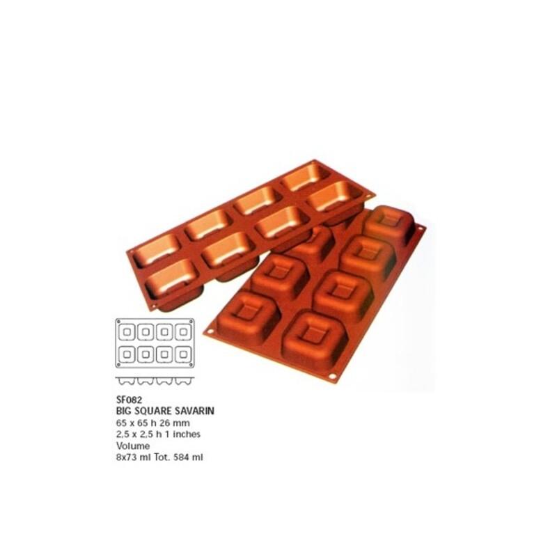 Moule silicone grands savarins carrés