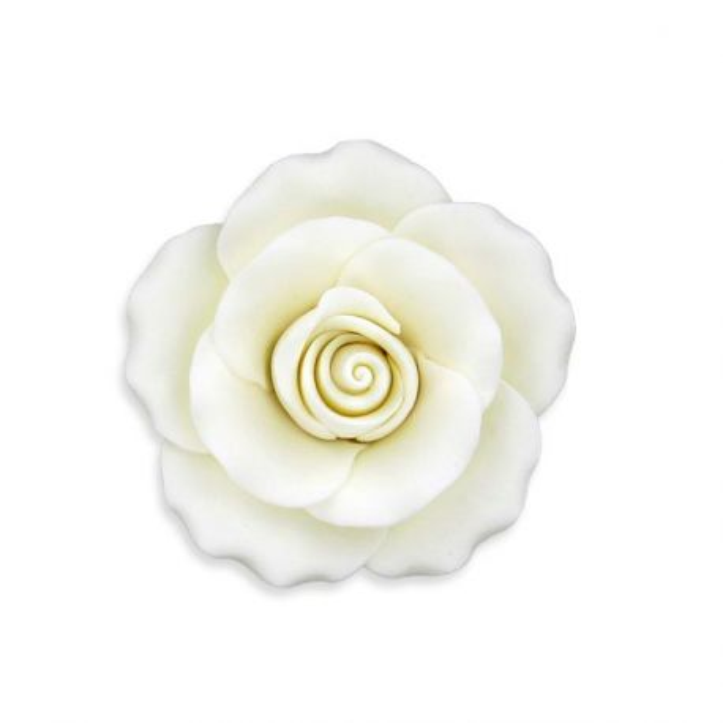 Rose blanche en pastillage 9 cm Gatodéco