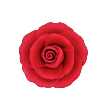 Rose rouge en pastillage 9 cm Gatodéco