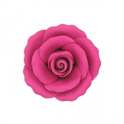Rose fuchsia en pastillage 9 cm Gatodéco
