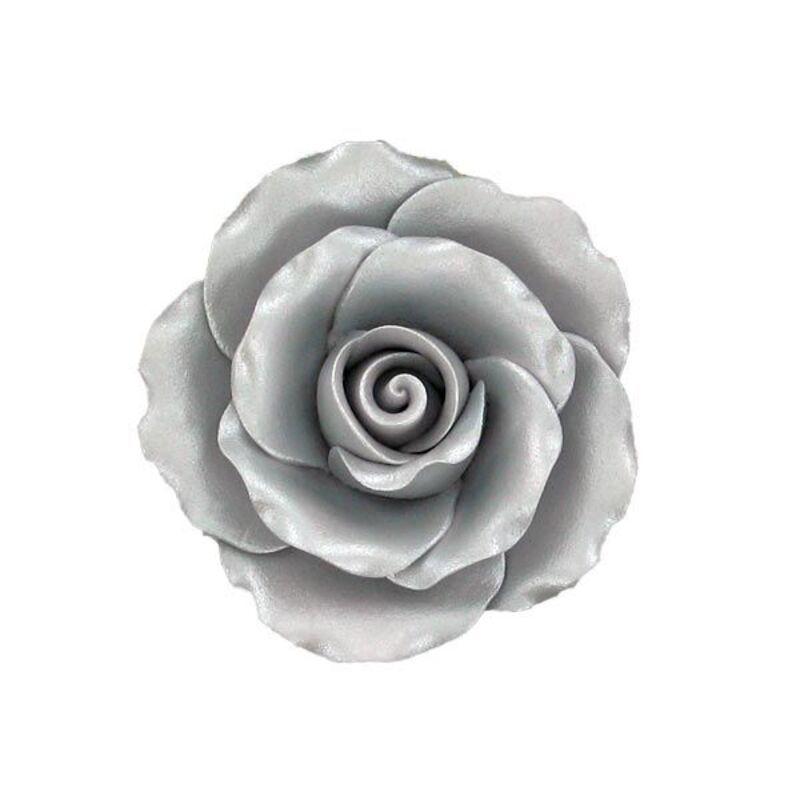 Rose argentée en pastillage 9 cm Gatodéco