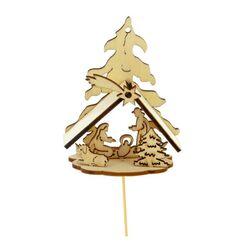 Kit crèche de Noël en bois sur pique