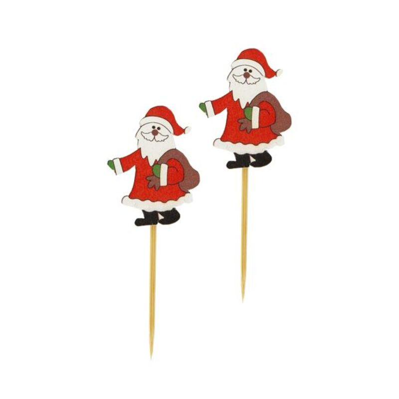 Père Noël avec hotte sur pique Gatodéco (x50)