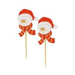 Tête bonhomme de neige Noël sur pique (x50)