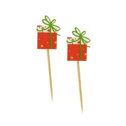 Paquet cadeau bois sur pique (x50)