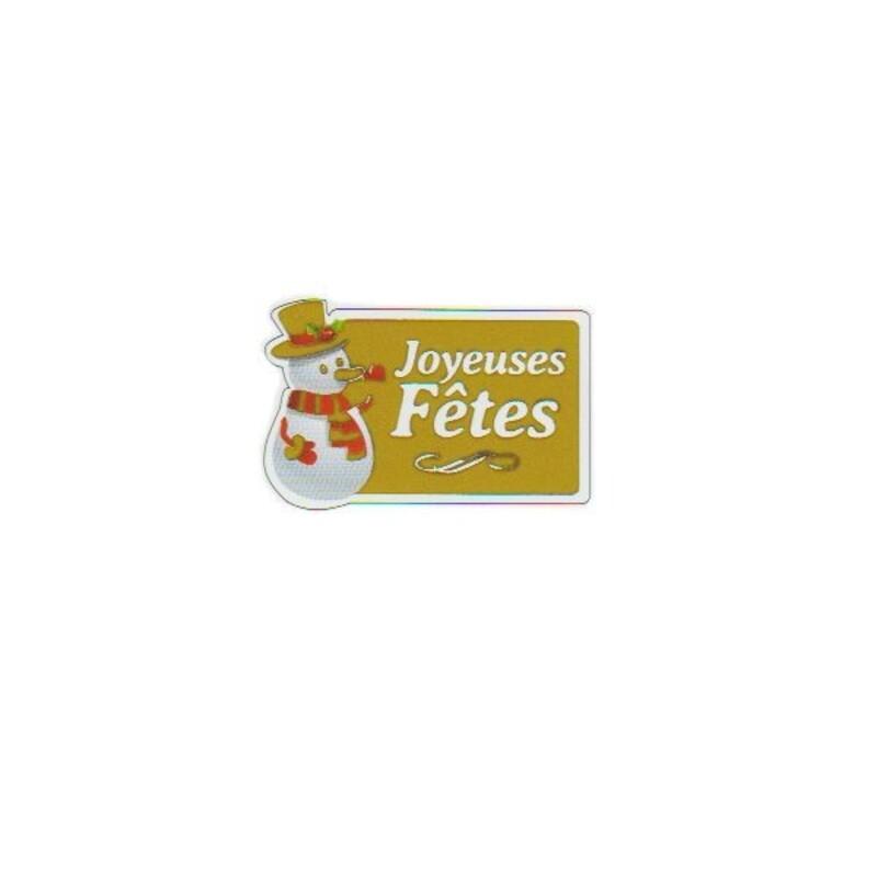 Etiquette adhésive Joyeuses Fêtes Bonhomme de neige (x500)