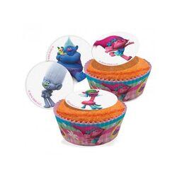 Mini disques cupcakes Les Trolls assortis 3,4 cm (x16)