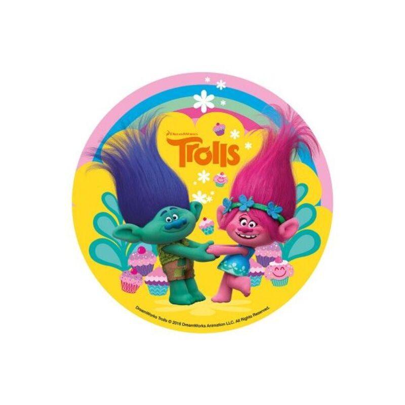 Disque en sucre Les Trolls 16 cm