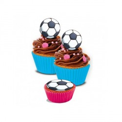 Mini disques cupcakes ballon de football 3,4 cm (x16)