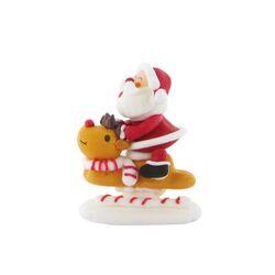 Décor comestible Père Noël sur son renne