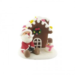 Décor comestible Père Noël assis et chalet