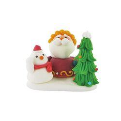 Décors comestibles Père Noël derrière un sapin (x12)
