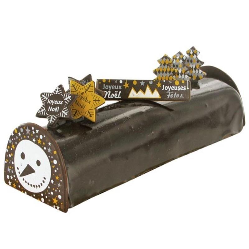 """Kit décors de bûche en chocolat """"Bonhomme de neige"""""""