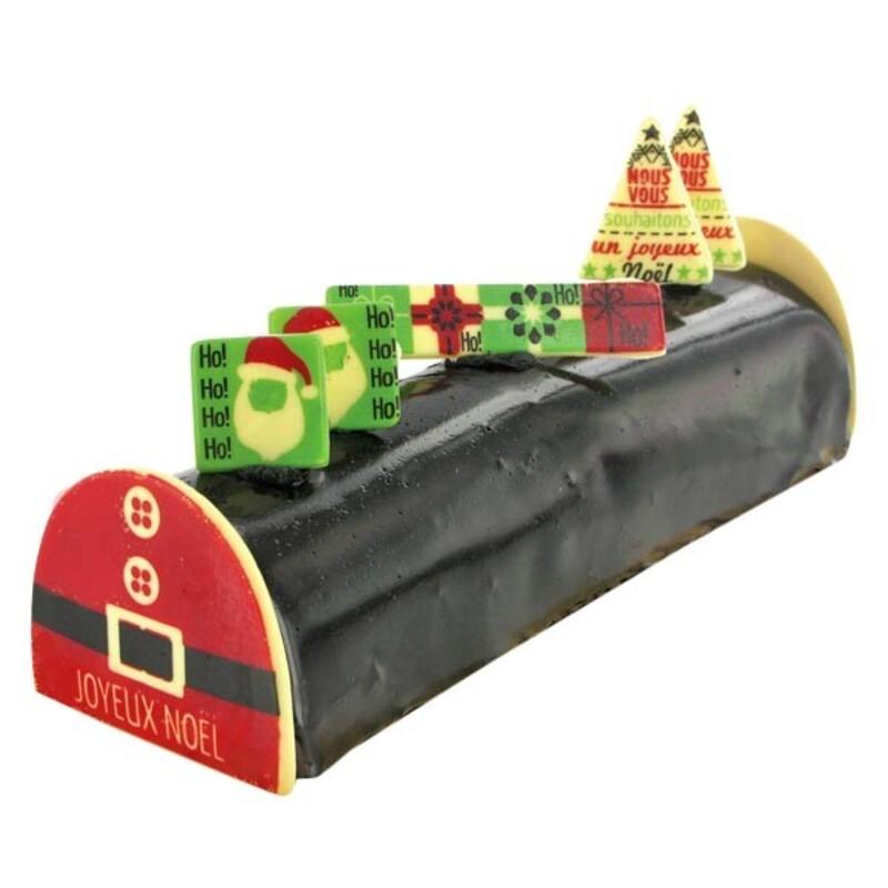 """Kit décors de bûche en chocolat """"Ceinture du Père Noël"""""""