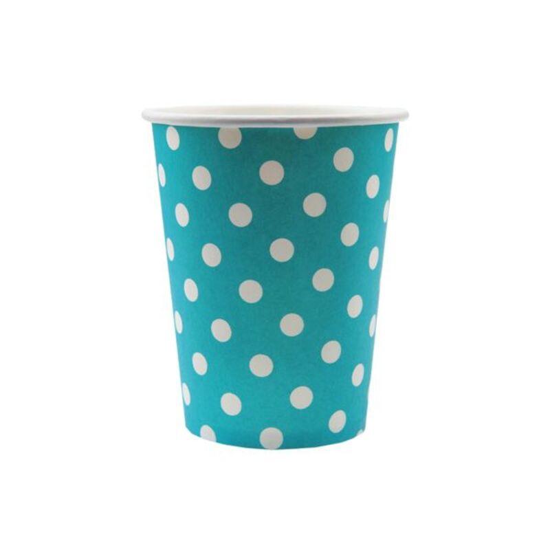 Gobelet en carton turquoise pois blancs (x10)