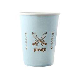 Gobelet en carton bleu Pirate (x6)