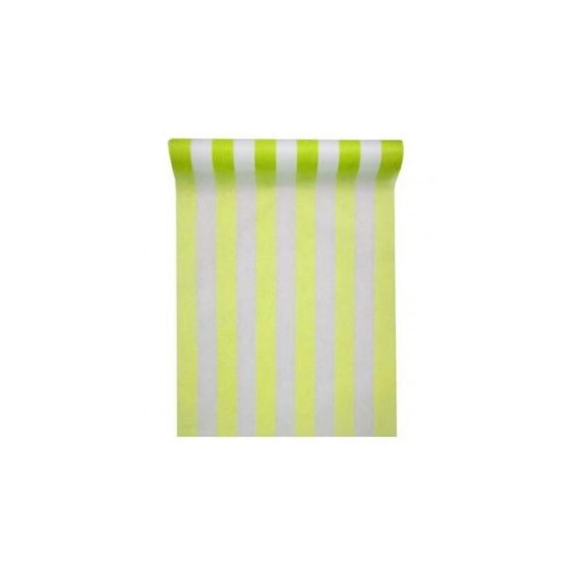 Chemin de table à rayures vert 30 cm (5m)