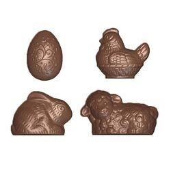 Moule friture en chocolat 4 sujets de Pâques