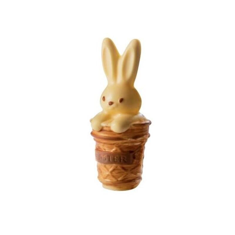 Moule chocolat lapin dans un panier 3D