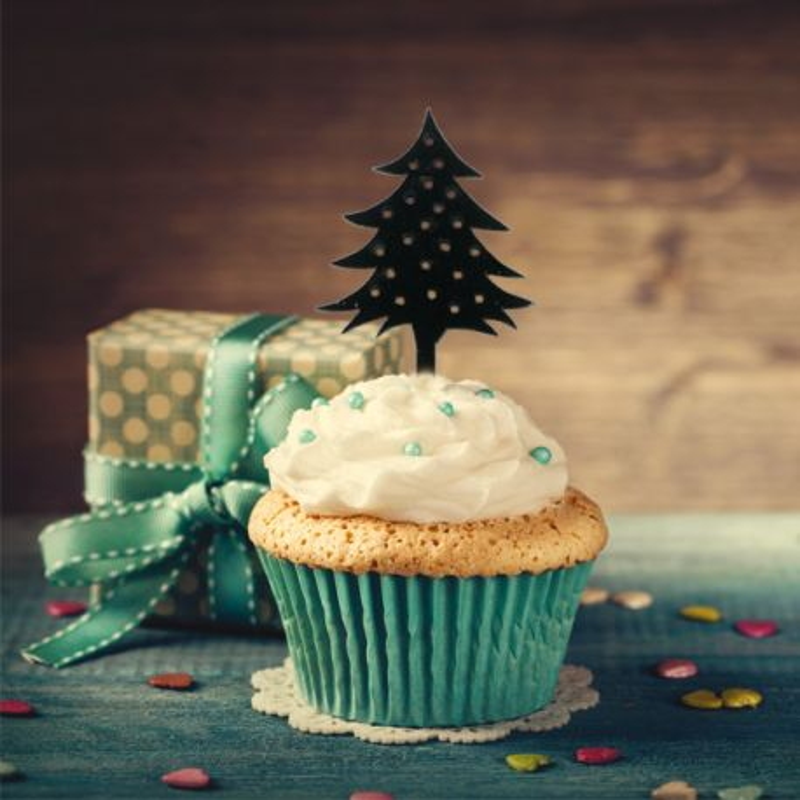 Pics déco cupcake Sapins (x8)