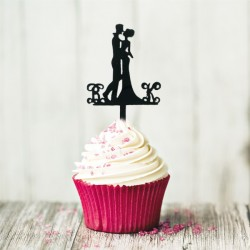 Cupcake Toppers couple enlacé (x8)