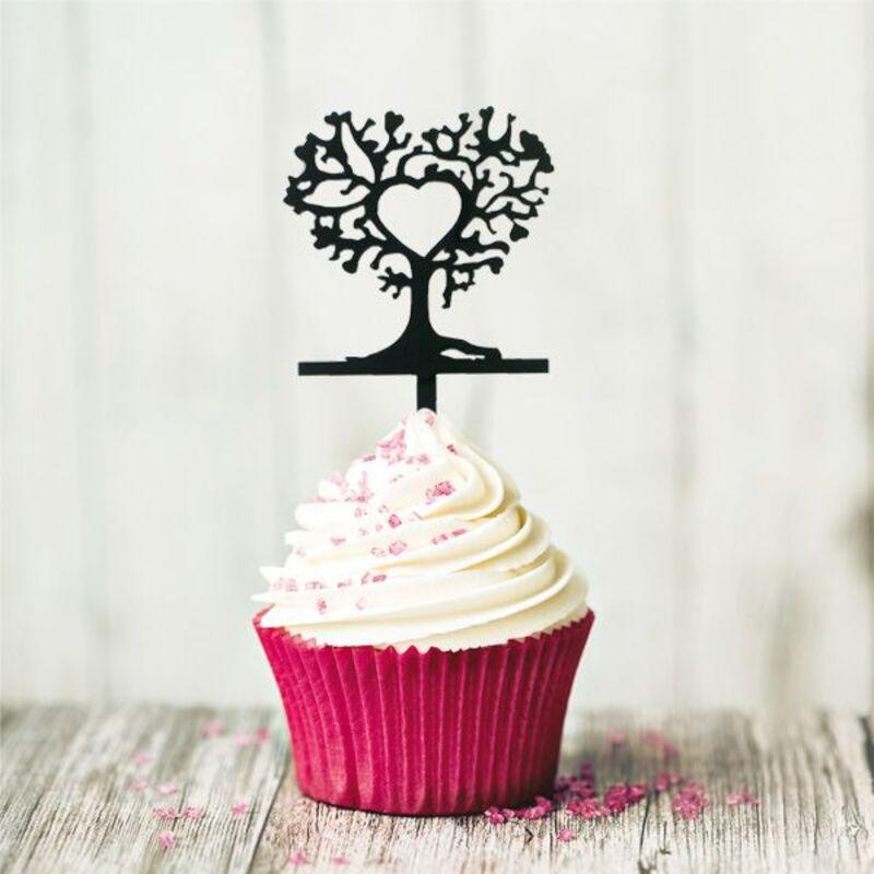 Cake Topper Arbres coeurs (x8)