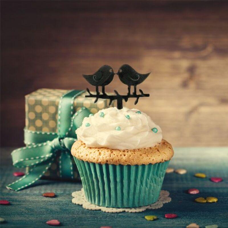 Cake Topper Oiseaux amoureux (x8)