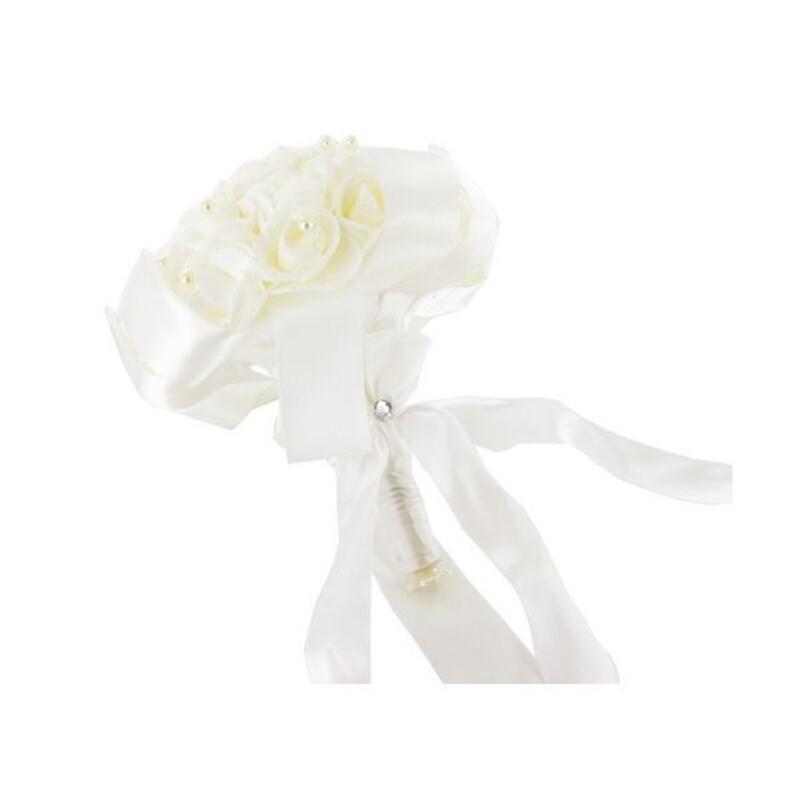 Bouquet mariée roses ivoire et paillettes