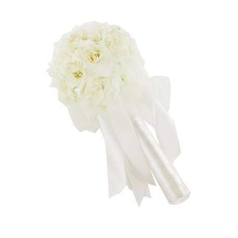 Bouquet mariée roses ivoire et tulle