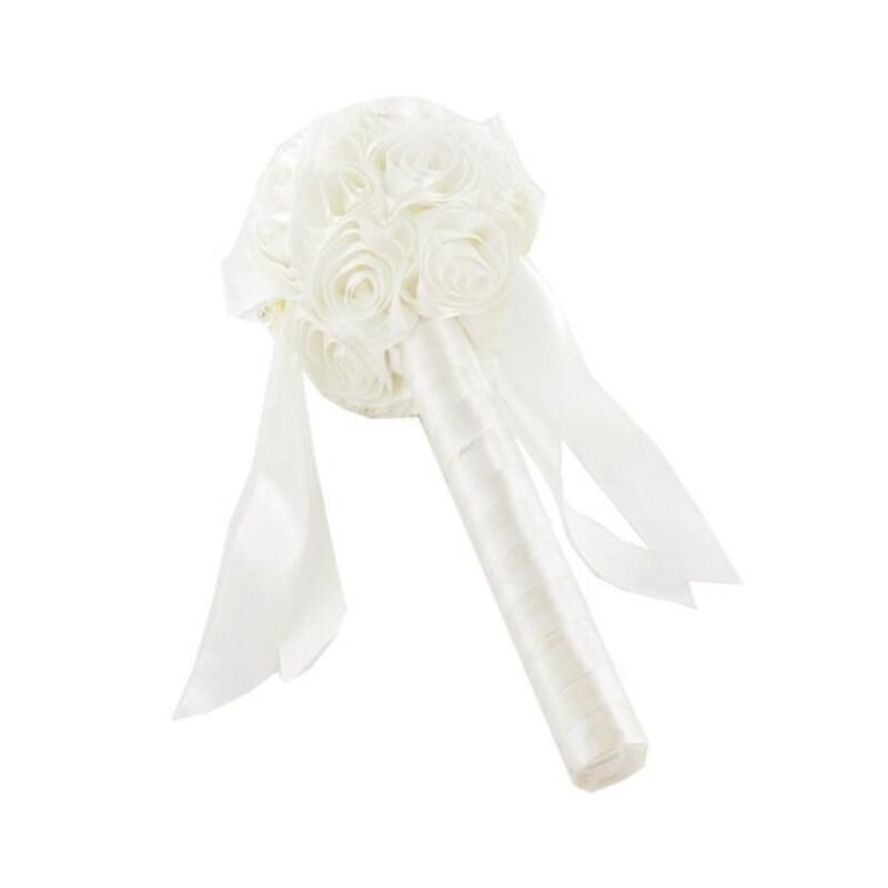 Bouquet mariée roses satin ivoire