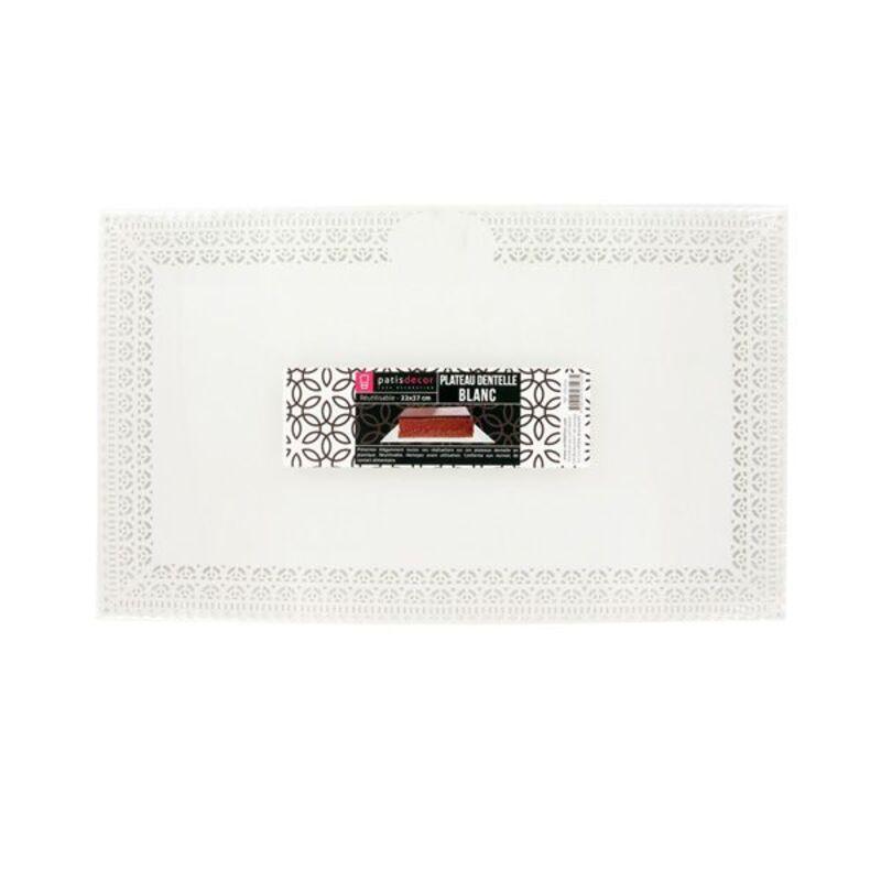 Plateau plastique dentelle blanc 16 x 30 cm