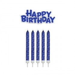 16 Bougies bleues + Happy Birthday